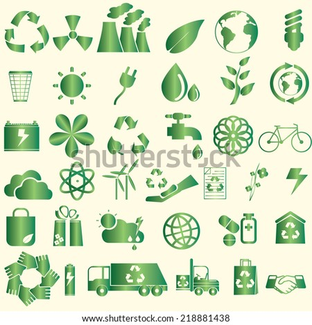 World Conservation Icons green color style