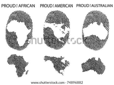 world continent fingerprint vector eps8 - stock vector