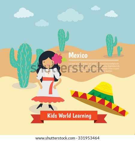 world , Country , Nation Kids learning , Mexico - stock vector