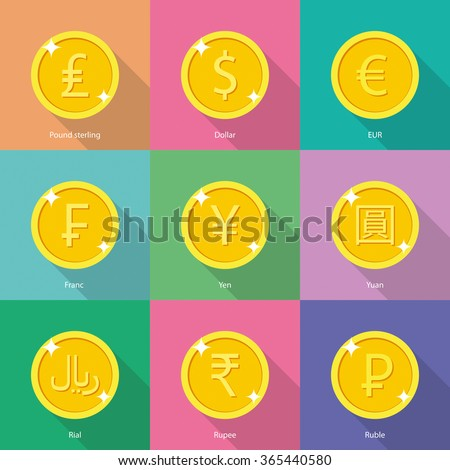 World currency icons: dollar, euro, yen, yuan, euro, indian rupee, russian ruble, franc, pound sterling, rial, rupee, russian ruble - stock vector - stock vector