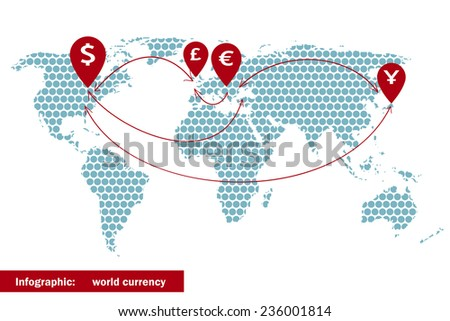 World currency symbol, arrow on the dotted world map. Vector illustration. - stock vector