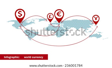 World currency symbols, arrow on the dotted world map. Vector illustration. - stock vector