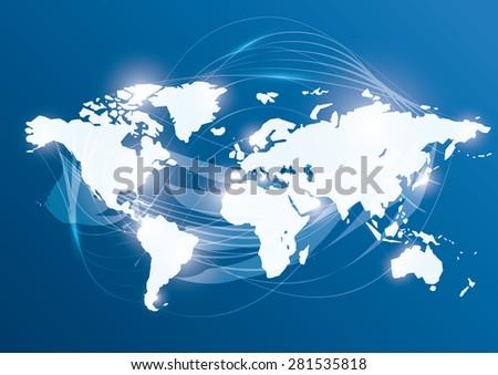 World design over blue background, vector illustration. - stock vector