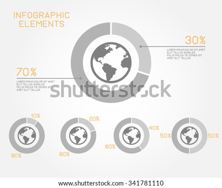 World Earth Pie Chart Infographic Elements - stock vector