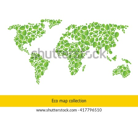 World Eco map. Green leaf continental map