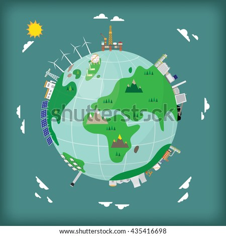 world energy between renewable and fossil energy - stock vector