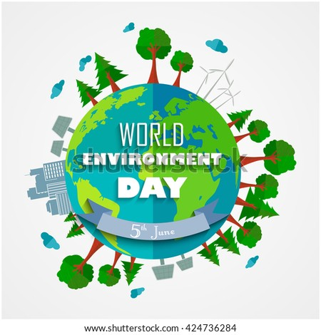 World environment Day background for symbols on clean earth.Vector