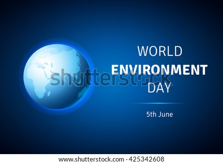 World Environment Day concept vector illustration. World Environment Day vector card, poster with globe. Earth with smooth vector shadows and green map of the continents of the world. - stock vector