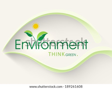 World Environment Day concept with green leaf design and stylish text on abstract background.  - stock vector
