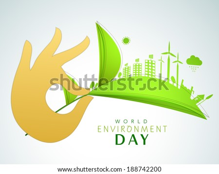World Environment Day concept with illustration of a urban city created on green leaves holding by human hands on grey background.  - stock vector