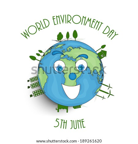 World Environment Day concept with illustration of mother earth and stylish text on white background.  - stock vector