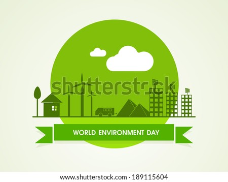 World Environment Day concept with illustration of urban city background, can be use as sticker, tag or label. - stock vector