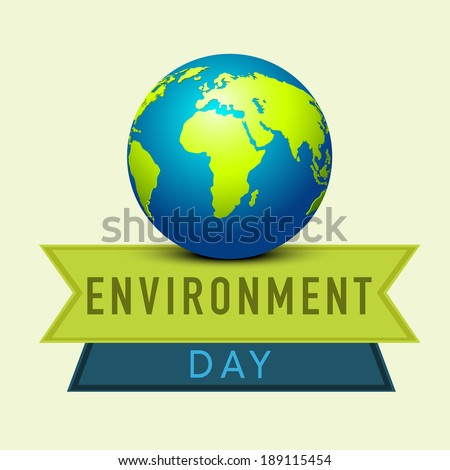 World Environment Day concept with mother earth globe and stylish text blue and green ribbons.  - stock vector
