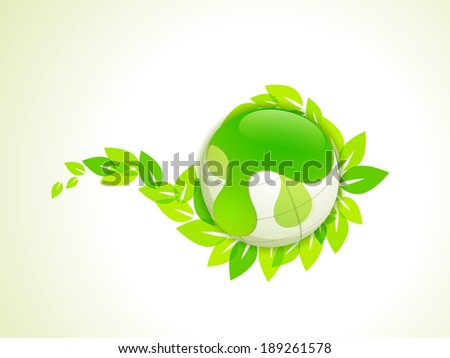 World Environment Day concept with shiny globe and green leaves on abstract background.  - stock vector