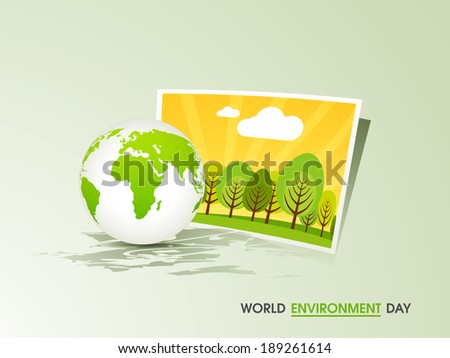 World Environment Day concept with shiny globe and picture of green trees on abstract background.