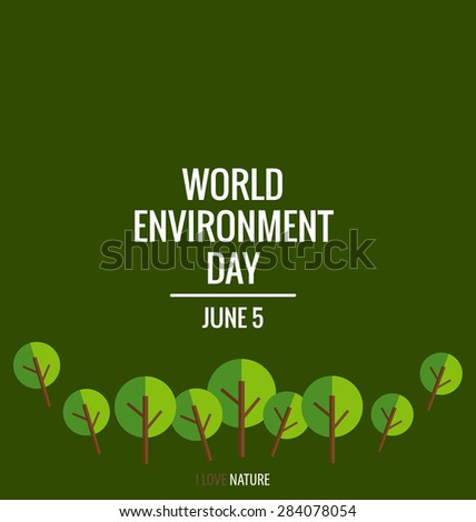 World environment day concept with tree background. Vector illustration - stock vector