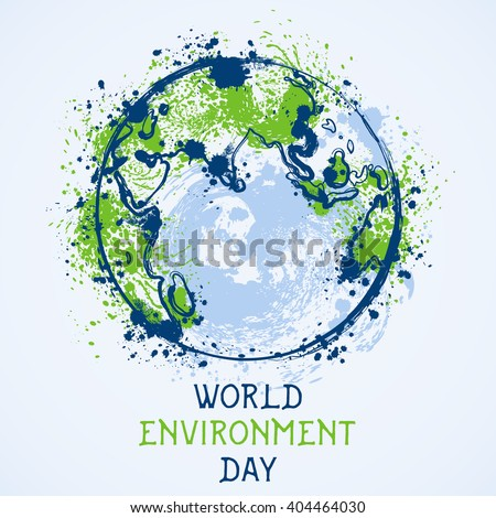 World environment day. Earth globe with splashes in watercolor style art.. Concept design for banner, greeting card, t-shirt, print, poster. Vector illustration - stock vector