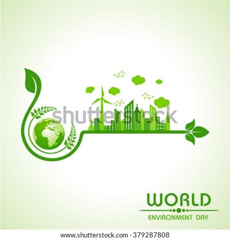 world environment day greeting design stock vector - stock vector