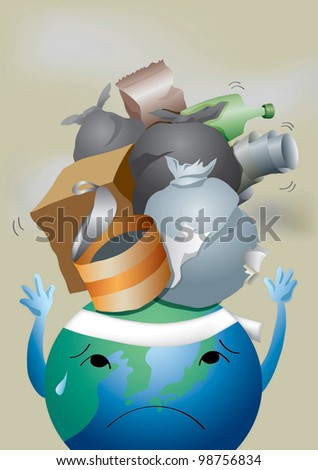 World Environment Day - protecting painful blue planet from dirty garbage dump : vector illustration - stock vector