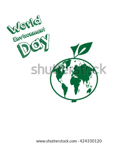 World Environment Day. World map inside apple. Vector illustration