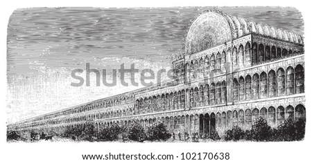 World exhibition building in London 1851 - Crystal palace / vintage illustration from Brockhaus Konversations-Lexikon 1908 - stock vector