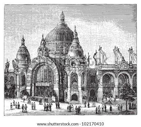 World exhibition in Paris 1900 / vintage illustration from Brockhaus Konversations-Lexikon 1908 - stock vector