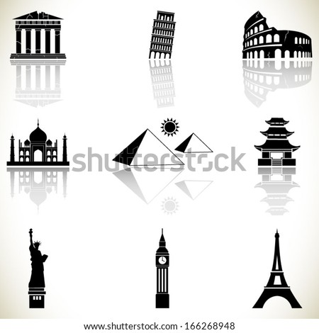 World famous buildings  - stock vector