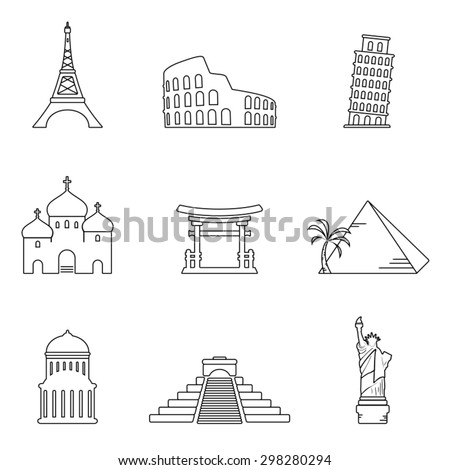 World famous buildings icons - stock vector