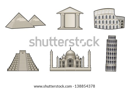 World famous landmark and monuments vector illustration - stock vector