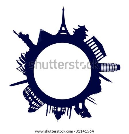 World famous landmarks - stock vector