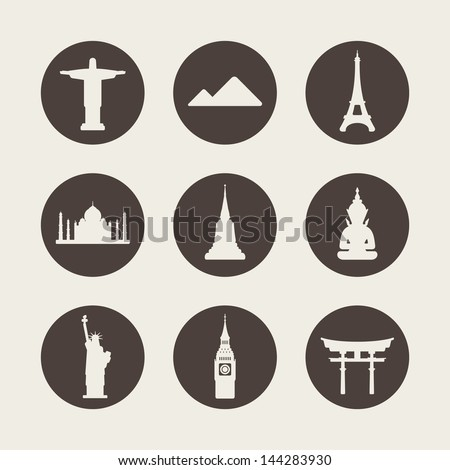 World famous monuments icons set - stock vector