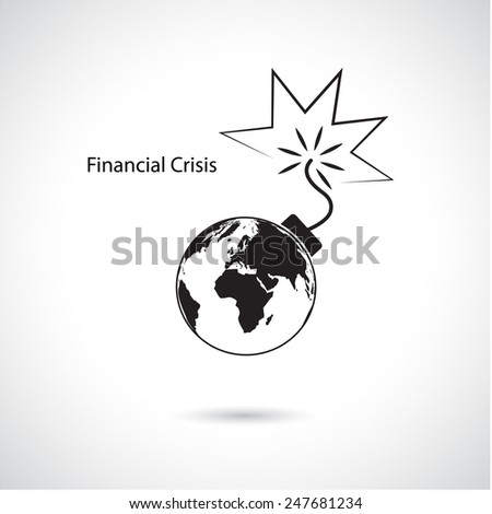 World financial and economic crisis, global business concept. Vector illustration - stock vector
