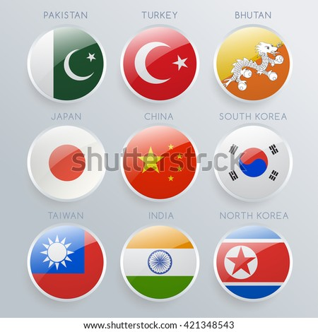 World Flag Glass Icon Set : Vector Illustration