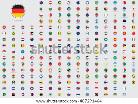 World Flag Illustrations in the shape of a Circle - stock vector