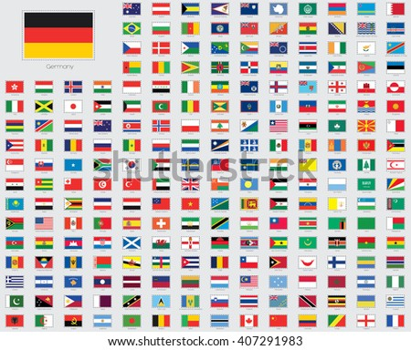 World Flag Illustrations with a Stitched or Dotted Outline