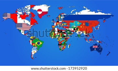 World Flag Map with a blue background. - stock vector