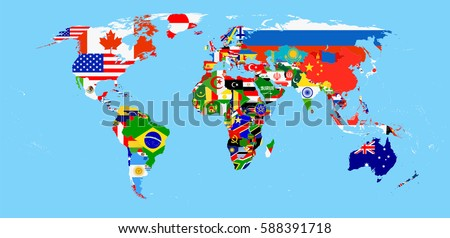 World flag map isolated on white stock vector 588315992 shutterstock world flag map with a blue background all elements are separated in editable layers clearly gumiabroncs Images