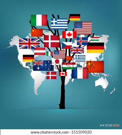 World flag tree concept. Vector illustration. - stock vector