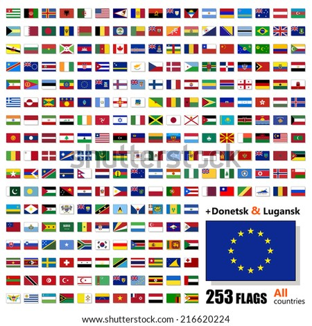 World Flags Collection - All Sovereign States Set on 2014 and 2015 - with Donetsk and Luhansk - Vector Illustration - stock vector