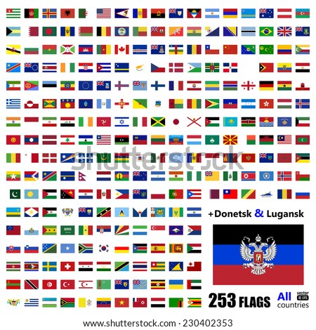 World Flags Collection - All Sovereign States Set on September 2014 - with Donetsk and Luhansk - Vector Illustration