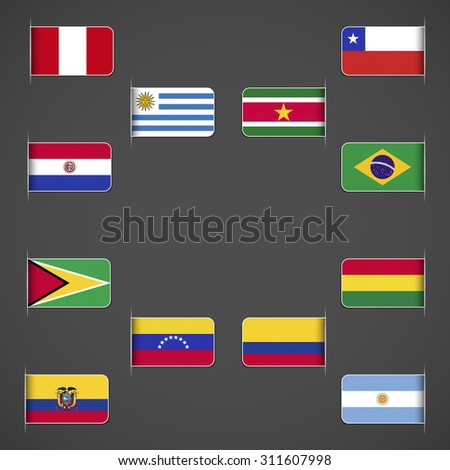 World flags collection, South America. Labeled in layers panel. Flags on the right hand side reflected around vertical axis. - stock vector