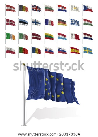 World Flags Icon Set Collection - European Union States / Countries in Vector - 2015 - stock vector