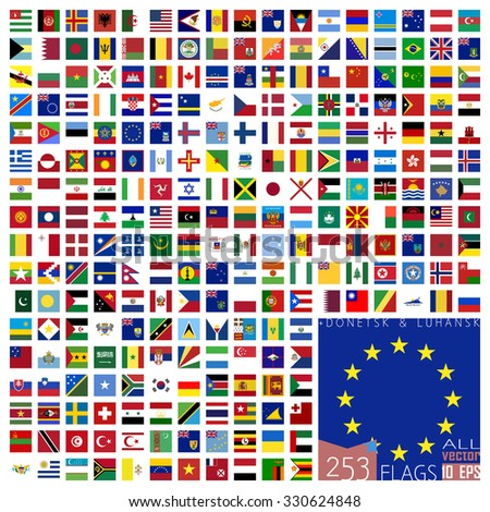 World Flags Icon Set Collection in Square Flat Design - All Sovereign States / Countries in Vector - 2016 - stock vector