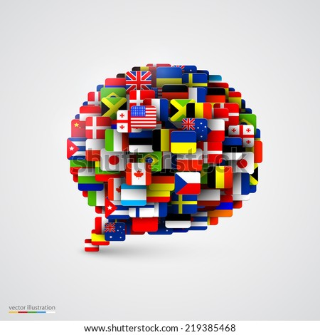 World flags in form of speech bubble. Vector illustration - stock vector