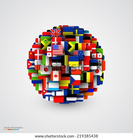 World flags in form of sphere. Vector illustration - stock vector