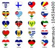 World Flags in Love Heart Shape - Pack 6 - stock photo