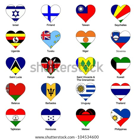World Flags in Love Heart Shape - Pack 6