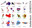 World Flags - Map Pack 5 - stock photo