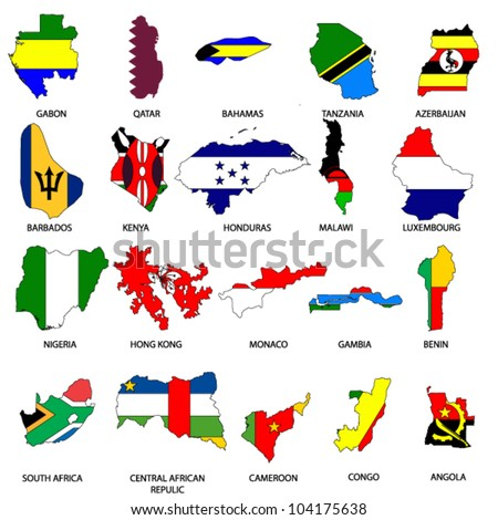 World Flags - Map Pack 7 - stock vector