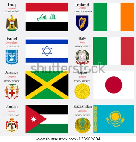 world flags of Iraq, Ireland, Israel, Italy, Jamaica, Japan, Jordan and Kazakhstan, with capitals, geographic coordinates and coat of arms, vector art illustration